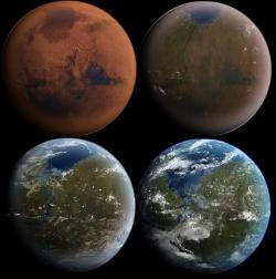 Povede se nám někdy terraformovat Mars? Kredit: Daein Ballard / Wikimedia Commons.