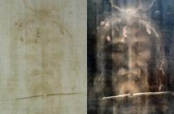 Výraz tváře na turínském plátně vynikne po digitálním zpracování. Vlevo pozitiv. Podrobnosti zpracování obrazu zde.(Kredit: Dianelos Georgoudis, Wikipedia)