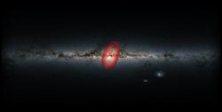 Heracles a Mléčná dráha zboku. Kredit: Danny Horta-Darrington (Liverpool John Moores University), ESA/Gaia, and the SDSS.