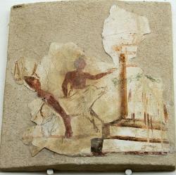 Pořádné prase vedené k oběti. Nástěnná malba z ostrova Délu, 100 před n. l. Archeologické muzeum na Délu. Kredit: Zde, Wikimedia Commons.