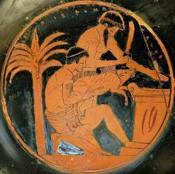 Oběť prasete, nejspíš se bude péct na oltáři, asi rané 5. století před n. l. Kredit: DaphneBreemen, Wikimedia Commons.