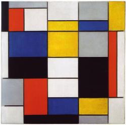 Piet Mondrian, Kompozice A, 1920. (Omlouvám se za omezení na jednoho autora, je to kvůli absurdním zákonům o autorských právech. Tak aspoň holandská avantgarda De Stijl.) Kredit: www.snap-dragon.com via Wikimedia Commons.