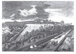 """Prior Park na jihozápadě Anglie významně ovlivnil uhlazený a krátce střižený styl zahrad známý jako """"anglický park"""" v kontinentální Evropě. Obrázek je z roku 1750. (Volné dílo, en. Wikipedia)"""