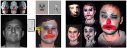 Systém snímá tvář herce v infračerveném spektru (vlevo dole). Podle naplánovaného cílového vzhledu (vlevo nahoře) program začne pracovat s albedem a ofsety založenými na výrazech v prostorové pozici (horní střední obrázky). Ty jsou pak mixovány a deformovány, aby odpovídaly obličejové konfiguraci a ještě k tomu také jeho momentální pozici (spodní střední obrázky). To se pak promítne na interpreta.