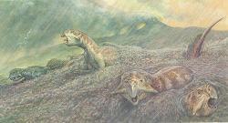 Současná představa o způsobu uchování tisíců organismů, zahynuvších před 120 až 133 miliony let v severovýchodní Číně. Zde skupina ceratopsů rodu Psittacosaurus, marně bojujících s povodní, kde valící se voda obsahuje značnou příměs vulkanického materiálu. Kredit: Bristol University Press Release