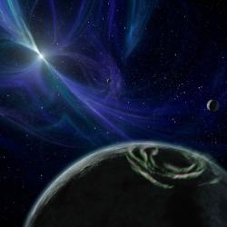 Jak asi vypadají planety pulzaru? Kredit: NASA/JPL-Caltech/R. Hurt (SSC).