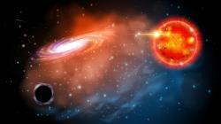 Černá díra sčerveným obrem. Kredit: Jason Shults / Ohio State University.