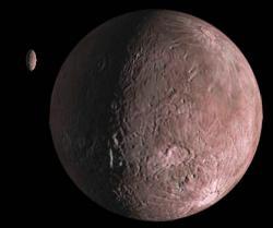 Umělecké znázornění Quaoaru a jeho měsíce Weywotu. Credit: NASA/JPL-Caltech/R. Hurt
