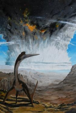 Obří azdarchidní ptakoještěr rodu Quetzalcoatlus zděšeně pozoruje účinky dopadu planetky do oblasti budoucího Mexického zálivu v době před 66 miliony let. I když je tento létající archosaur od místa srážky vzdálen mnoho stovek kilometrů, nejpozději za několik desítek minut bude zabit extrémně silnou rázovou vlnou, šířící se do všech směrů od epicentra dopadu, zpočátku ohromující rychlostí v řádu jednotek kilometrů za sekundu. Kredit: Vladimír Rimbala, titulní ilustrace k autorově knize Velké vymírání na konci křídy (Socha, V.; nakl. Pavel Mervart, 2017).