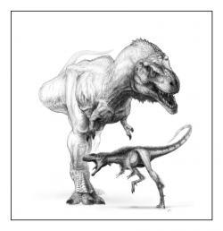 """Velikostní srovnání raptorexe, o hmotnosti dospělého člověka, a tyranosaura, který vážil zhruba stonásobně více. Takové porovnání ale není férové, protože """"raptorex"""" zřejmě v dospělosti dosahoval podobných rozměrů jako jeho severoamerický bratranec. Kredit: Todd Marshall, web Paula Serena"""