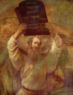 """Mojžíš na Hoře Sinaj. Podle Bible tam k Mojžíšovi pravil: """"Sestup a varuj lid, aby se nikdo nepokoušel proniknout k Hospodinu ve snaze ho uvidět. Mnoho by jich zemřelo."""" Kredit: Rembrandt van Rijn(1659). Volné dílo."""