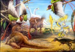 Druhová rozmanitost dinosaurů byla nejspíš mnohem větší, než se obvykle jeví z dostupného fosilního záznamu. Jen vývojově primitivní rohatý dinosaurus psitakosaurus (dinosaurus vlevo dole, druhý jedinec uprostřed) má coby biologický rod zhruba deset rozeznávaných druhů. Představa krajiny v období rané křídy na území dnešní čínské provincie Liaoning (asi před 125 miliony let). Z dalších dinosaurů je zde k vidění Beipiaosaurus (v pozadí), Sinosauropteryx (vpravo dole) a dva druhy rodu Microraptor (plně opeření teropodi). Kredit: Luis V. Rey.