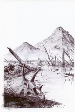 Přibližně tak nějak mohla vypadat typická oblast na území současné Montany a Jižní Dakoty, ve vzdálenosti zhruba 3500 kilometrů od epicentra dopadu, v řádu dní až týdnů po samotném impaktu. Postapokalyptická krajina posetá popelem, kamením, ohořelými kusy dřeva a tisícovkami spálených mrtvol dinosaurů a dalších nešťastných tvorů, kteří se stali přímými svědky této přelomové události v dějinách života na Zemi. Kredit: Vladimír Rimbala, ilustrace pro autorovu knihu Velké vymírání na konci křídy (nakl. Pavel Mervart, 2017).