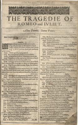 Faksimileprvní stranyRomea a Juliez vydání z roku 1623. Wikimedia Commons, volné dílo.