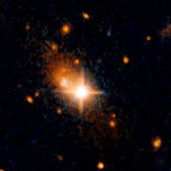 Uprchlá supermasivní černá díra. Kredit: NASA, ESA, and M. Chiaberge (STScI and JHU).