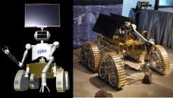 Robot pro budoucí lunární základnu. Vlevo předpokládaná finální podoba, vpravo rozpracovaný prototyp.  Zdroj:web-japan.org