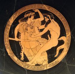 "Satyr a mainada, takže to není ""ze života"", 480 př. n. l. Staatliche Antikensammlungen München. Kredit: Macron Painter via Bibi Saint-Pol, Wikimedia Commons."