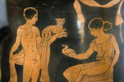 Dvoření kocoura a kachničky, 410-400 př. n. l. Archeologické muzeum v Agrigentu. Kredit: Painter of Bologna via Zde, Wikimedia Commons.