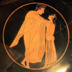 Mladík a dívka, navazování vztahu s hetérou, 520–510 př. n. l. Altes Museum Berlin. Kredit: Kiss Painter via Anagoria, Wikimedia Commons