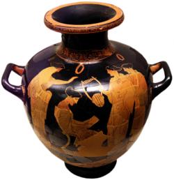 Sapfó v tradici klasické doby, 440–430 př. n. l. Národní archeologické muzeum v Athénách. Kredit: Μαρσύας, Wikimedia Commons.