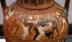 Lidští komastai Dionýsa: muži a hetéry, 560 př. n. l. Staatliche Antikensammlungen München. Kredit: Bibi Saint-Pol, Wikimedia Commons.