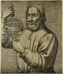 Johannes de Sacrobosco, asi nehistorická podoba z roku 1584. Kredit: Stanislava Kyselová, AV ČR via Wikimedia Commons.