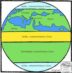 Pásma podnebí na Zemi podle tisku Traktátu de Sphaera z roku 1500. Kredit: Ökologix, Wikimedia Commons.