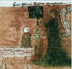 """Učitel vysvětluje žákovi """"arabské"""" číslice, Sacroboscův Algorismos, rukopis z roku 1400. Kredit: Phrood~commonswiki, Wikimedia Commons."""