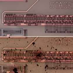Čip zkarbidu křemíku před a po testu vsimulovaném prostředí Venuše. Kredit: NASA.