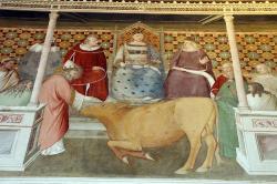 Svatý Silvestr s dobytkem. Cappella bardi di vernio, 14. století. Kredit: Maso di Banco via Sailko, Wikimedia Commons.