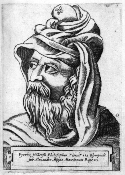 Pyrhón, nehistorická podoba z roku 1580, Girolamo Olgiati. Kredit: Google books via Wikimedia Commons.