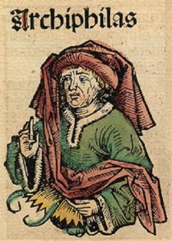 Asi to má být Arkesiláos, nehistorická podoba z roku 1493. Kredit: Hartmann Schedel, Wikimedia Commons.