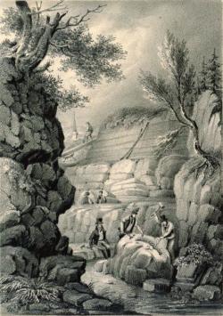 Dobová ilustrace, znázorňující Gideona Mantella pečlivě dohlížejícícho na průběh vykopávek v jednom z lomů v okolí Tilgate Forest. Právě odtud získával fosilní materiál, který mu posloužil k vědeckému popisu druhého známého dinosaura. Kredit: National Library of New Zealand,Collections of the Andrew Turnbull Library, Wikipedie