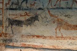 Skok přes býka. Malba na larnaku (terakotové rakvi) z Tanagry. Mykénská kultura, 1430-1230 před n. l. Archeologické muzeum v Thébách, 1. Strana B, detail. Kredit: Zde, Wikimedia Commons.