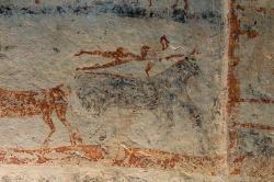 Jiný detail z larnaku z Tanagry. Mykénská kultura, 1430-1230 před n. l. Archeologické muzeum v Thébách, 1. Kredit: Zde, Wikimedia Commons