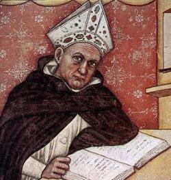 Albert Velký, Doctor universalis (1200 až 1280), detail fresky v Sala del Capitolo, San Nicolo, Treviso. Tommaso da Modena, 1352 n. l. Kredit: Wikimedia Commons.