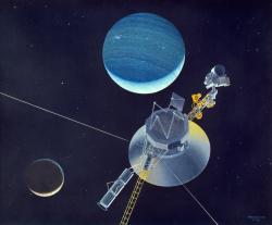 Sonda Voyager 2 díky gravitačním manévrům proletěla kolem všech velkých planet a dostala se až k Neptunu. Nyní je v čele pelotonu pěti pozemských sond k okraji Sluneční soustavy (zdroj NASA).