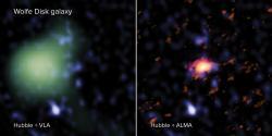 Galaxie Wolfe Disk na složených snímcích soustav ALMA (červeně), VLA (zeleně) a Hubbleova teleskopu (modře). Kredit: ALMA (ESO/NAOJ/NRAO), M. Neeleman; NRAO/AUI/NSF, S. Dagnello; NASA/ESA Hubble.