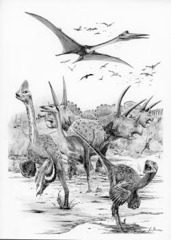 Hromadná panika dinosaurů v představě umělce. Je otázkou, zda na území severoamerické Laramidie dinosauři, ptakoještěři a mnozí další živočichové krátce po dopadu vycítili, že se blíží katastrofa… Od impaktu, a tedy i samotného začátku kenozoické éry zde právě uplynulo 120 sekund. Kredit: Vladimír Rimbala, ilustrace pro autorovu knihu Poslední dny dinosaurů (nakl. Radioservis, 2016)