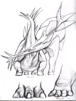 Umělecká studie, pokoušející se přijít na kloub jedné odvěké paleontologické záhadě. Nesnáze stegosauří kopulace, zde v podání ilustrátora Luise V. Reye. Máte ještě lepší nápad? Kredit: Luis V. Rey