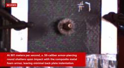 Střela kalibru .50 nemá proti kovové pěně šanci. Kredit: North Carolina State University.
