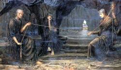 Moiry. Klóthónit načíná a proto drží vřeteno. Lachesisnit svíjí. Atropospřistřihuje. Obraz pořízený až v devatenáctém století nevystihuje realitu dost přesně. Doložené písemné prameny svědčí o tom, že   Moiry práce bavila a zpívaly si při ní. (Autor: John Strudwick, 1885, volné dílo)