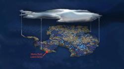 Ilustrace mapující vody v tekutém stavu nacházející se pod zmrzlým povrchem Antarktidy.Modré tečky jsou jezera, čáry znázorňují  řeky.Šipkou je označena lokalita pojmenovaná Země Marie Byrdové. Tato částna západě sahá až kRossovu moři. Jméno má po manželceamerickéhopolárníkaRicharda Evelyna Byrda. Nazval ji tak přiexpediciv roce 1929. Jde o zajímavou oblast, nacházíse tam Bentleyho příkop, jehož dno leží 2555 metrů pod úrovní moře a je nejhlubším nezatopeným místem na zemském povrchu. Háček je v tom, že je hluboko pod ledem. Najdeme zde i vysoké vrcholy, napříkladštítovou sopkuMount Sidley mající 4285 metrů. (Kredit:  NSF / Zina Deretsky)