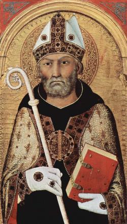 """Svatý Augustin, téžAugustin z Hippa, biskupaučitel církvev období pozdníhořímského císařství. Svatýkatolické církve zvaný též """"učitel Západu"""". (Kredit: Meisterwerke der Malerei)."""