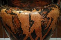 ymposiální scéna, 490–480 před. n. l. (Cleveland Museum of Art, Kredit foto: Saiko, Wikimedia Commons).