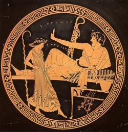 Tanečnice na symposiu, 490–480 před. n. l. (British Museum, London, Wikimedia Commons).
