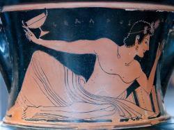 Hráč kottabu, 510 před. n. l. (Louvre Museum, Kredit: Marie-Lan Nguyen / Wikimedia Commons).