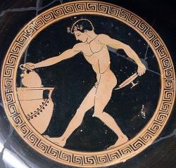 Nabírání vína na symposiu, 490–480 před. n. l. (Louvre Museum, Kredit: Jastrov, Wikimedia Commons).