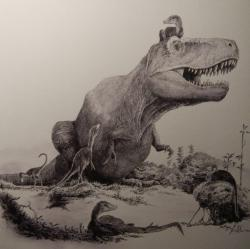 Díky prudkým růstovým změnám, které se odehrávaly zejména v průběhu 15. až 18. roku života tyranosaurů, se tento obr změnil z původně několik kilogramů vážícího čestvě vylíhnutého mláděte v devítitunového dospělého obra. Ilustrace Vladimíra Rimbaly z knihy autora blogu Legenda jménem Tyrannosaurus rex. Kredit: Vladimír Rimbala, Legenda jménem Tyrannosaurus rex (Pavel Mervart, 2019)
