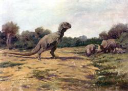Půvabná, i když silně zastaralá rekonstrukce tyranosaura na obraze amerického výtvarníka Charlese R. Knighta z roku 1919. Teropod s disproporčním umístěním očí, vertikalizovaným tělem a tříprstými předními končetinami se zde chystá zaútočit na svého úhlavního nepřítele – obřího ceratopsida rodu Triceratops. Podobné scény byly nesčetněkrát zobrazeny také v pozdějších obrazových i filmových rekonstrukcích. Kredit: Charles R. Knight; Wikipedie (volné dílo)
